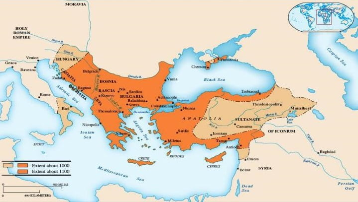 Mapa do Império Bizantino no ano 1100