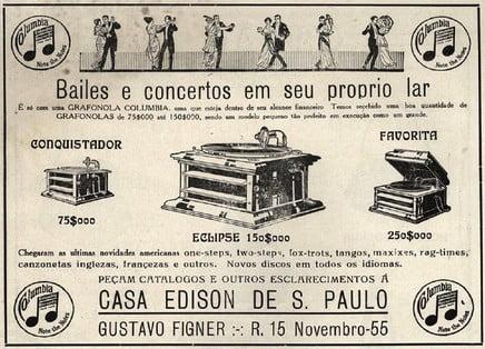 Panfleto da Gravadora Casa Edison, responsável pela primeira música gravada no Brasil