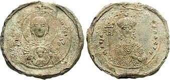 Moeda de bronze bizantina emitida em 1070 com a imagem da Rainha Maria Bagrationi no anverso e da Virgem Maria com o menino Jesus no reversov